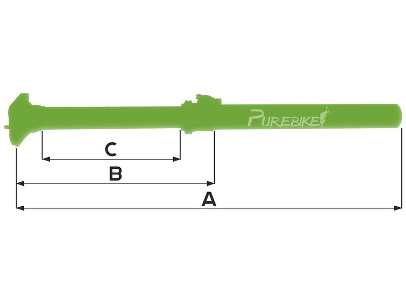 31,6 mm extra court tige de selle Tous MTN Vario sp-t10 80 mm Hub 305 mm de long XLC