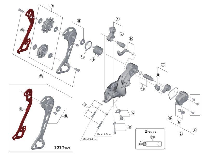 Shimano Chape Interne pour Dérailleur XT M8000
