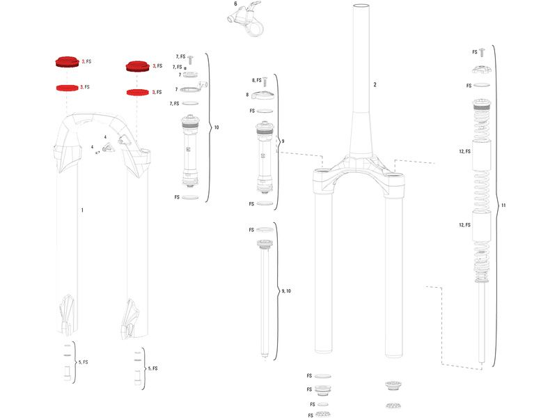 Rock Shox Kit joints fourche 30 mm pour XC30 2012 et +