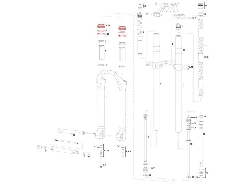 Rock Shox Kit joints fourche 32 mm Boxxer / Reba / Pike