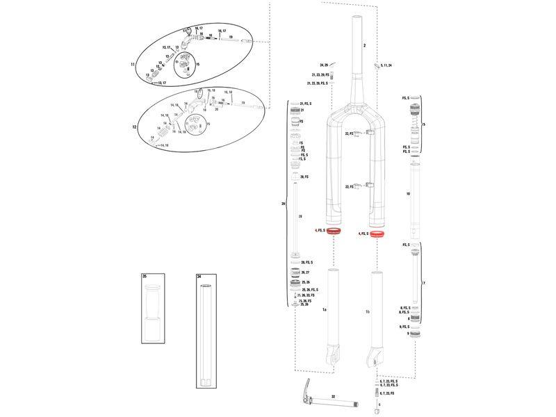 Rock Shox Kit joints fourche 32 mm pour RS1