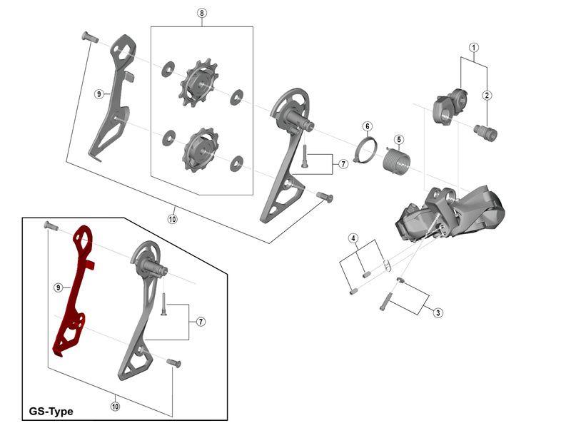 Shimano Chape interne pour dérailleur Ultegra Di2 R8050 - Chape moyenne