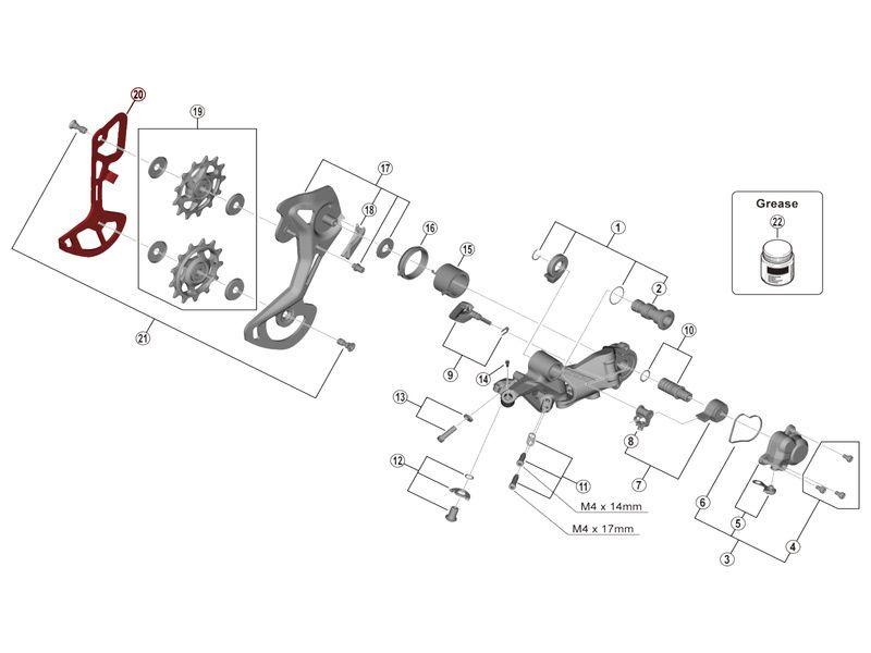 Shimano Chape Interne pour Dérailleur XTR M9100