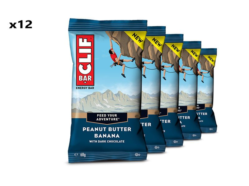 Clif Bar Boite de 12 barres énergétiques goût Beurre de Cacahuète et Banane
