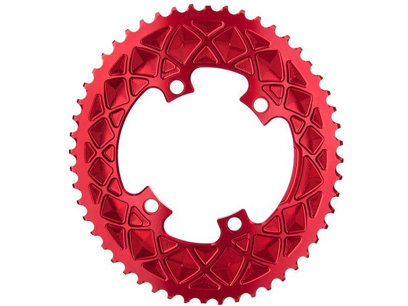 Absolute Black Plateau Ovale Premium - 4 trous 110 mm (Shimano asymétrique) - Rouge 2020