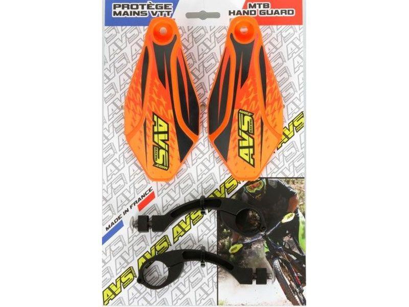 AVS Protège mains avec pattes aluminium - Orange / Noir
